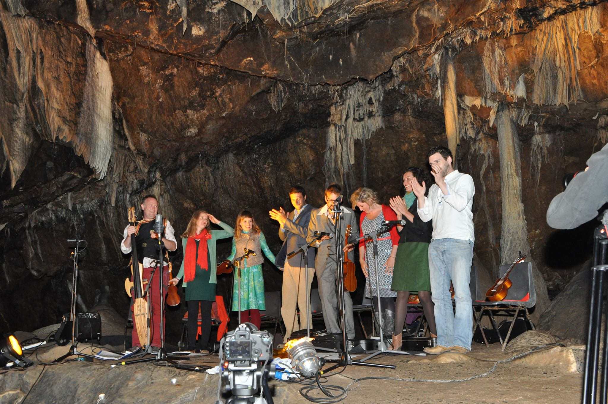 West Cork Ukulele Orchestra performing in Mitchelstown Cave, 2013